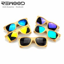 Rewood 2017 New fashion Products Men Women Glass Bamboo Sunglasses au Retro Vintage Wood Lens Wooden Frame Handmade  RE01