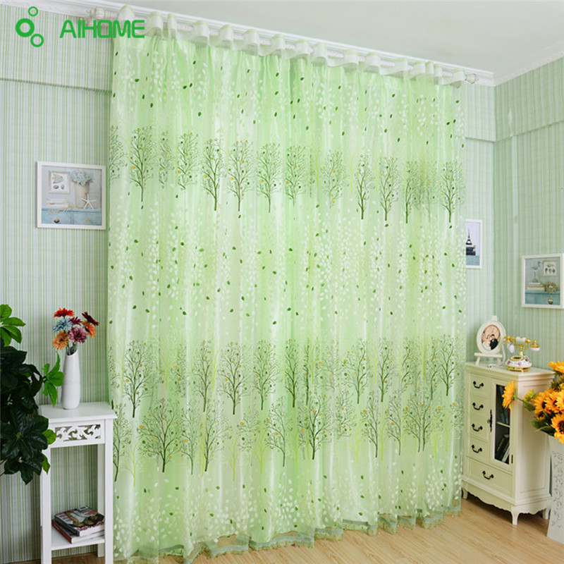 Home Textile Tree Window Curtains Blinds Voile Tulle Room Curtain Sheer Panel Drapes for bedroom living room kitchen Decoration