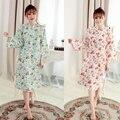 2016 зима цветочные женщины свадебные кимоно халат атласный шелк леди спа ночь платье
