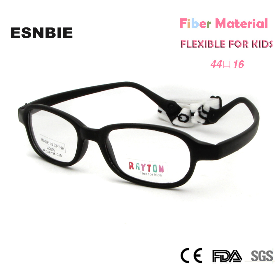 Esnbie Fashion Bendable Kids Eyeglasses Frames New Fiber Memory Child Glasses With Elastic Cord Girls Boys Optics Eyewear 10pcs Men's Glasses Men's Eyewear Frames