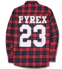Men Women hip hop red Tartan Plaid top hba pyrex 23 shirt kanye Retro Long sleeve