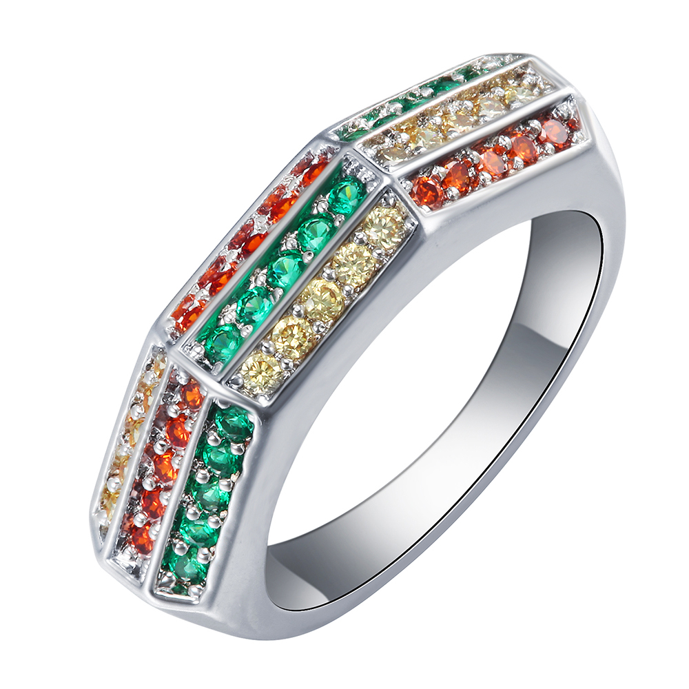 Silver Plated Rainbow Rings 3 Mixed Color Vintage Luxury Wedding Ring  Jewelry Fashion Costume Czech Zircon