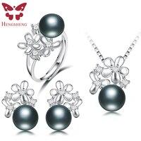HENGSHENG Real Black Pearl Jewelry Set,Women Flower Silver Pendants&Necklaces&Stud Earrings&Ring,Fashion Jewelry Set,Bread Round