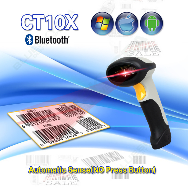 Free Shipping! CT10X USB Wireless Barcode Scanner Auto Sense Bluetooth 1D Barcode Scanner Laser Barcode Reader For Android IOS minjie mj 2806 usb 2 0 auto sense visible laser barcode scanner w holder light grey iron grey