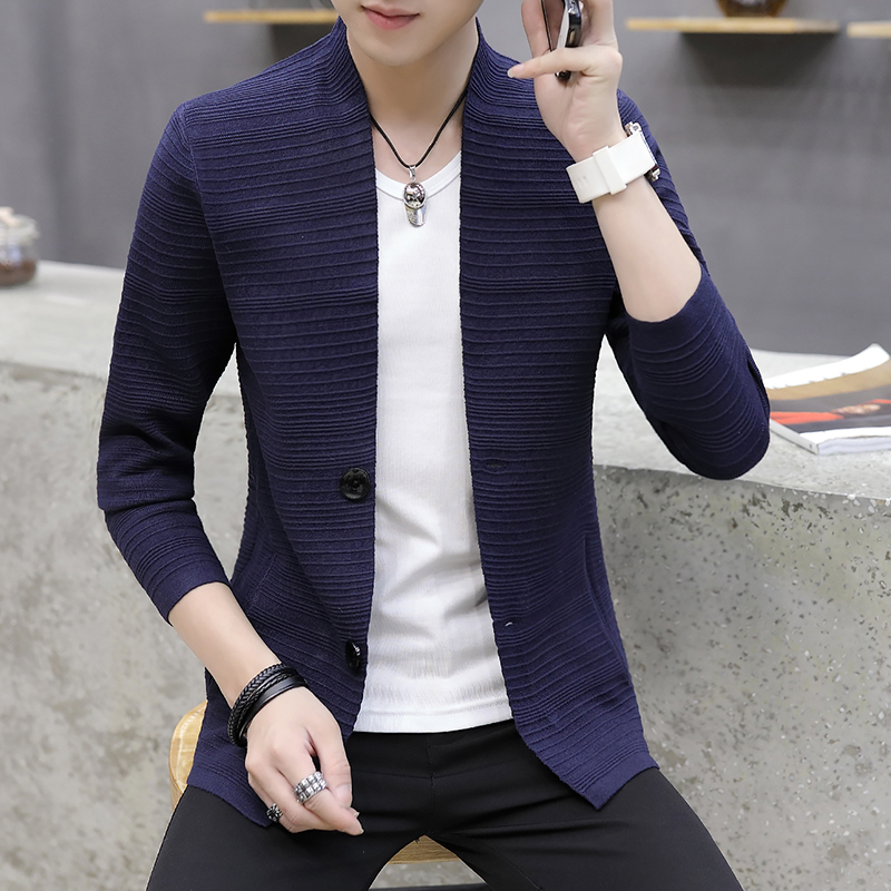 HOO  2021 knitting cardigan male v-neck outer wear in the spring and autumn light fashion handsome recreational sweater 3