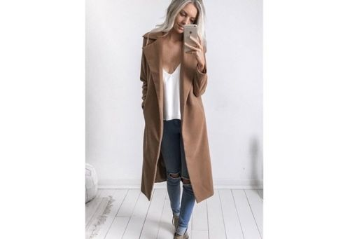 Hirigin Women Winter Warm Wool Lapel Trench Long Slim Turn Down Collar Long Cotton Outwear