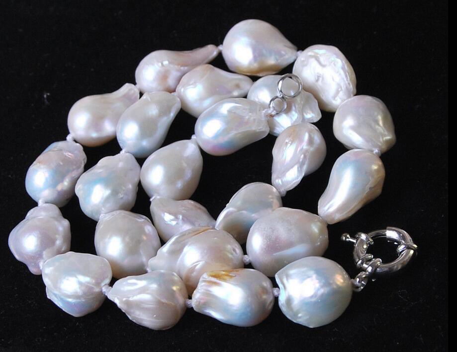 Grand collier de perles de culture baroques blanches 14-18 MM 18
