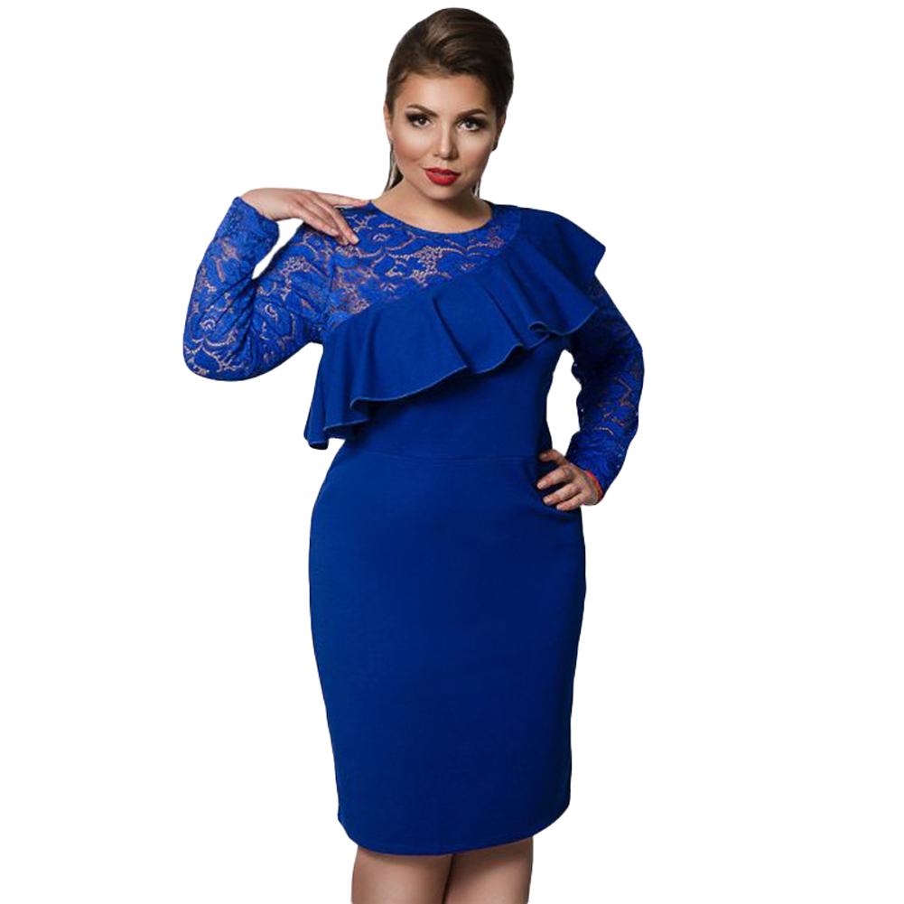 2019 Women Plus Size Dress Lace O-Neck Pencil Party Dress Ladies Ruffle Bodycon Slim Midi Club Vestidos Oversize 3XL 4XL 5XL 6XL