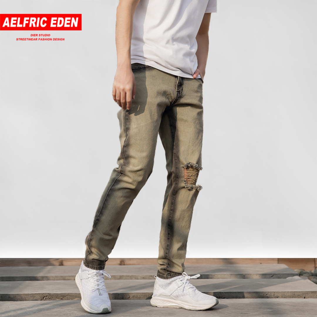 Aelfric Eden Ripped Hole Mens Jeans 2018 High Street Destroyed Jeans Casual Pants Punk Biker Jeans Male Denim Streetwear Tc08 Fragrant (In) Flavor