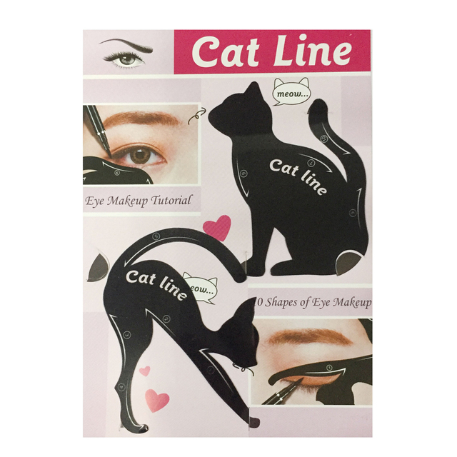 1 Pairs Cat Line Eyeliner Makeup Stencil Eyebrow Template Model Eyebrow Guide Makeup Tool Smokey Eye Makeup Eyeliner Models Card 2