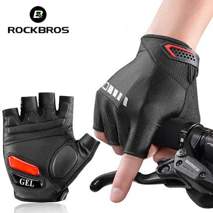 Rockbros Men Cycling Gloves Half Finger Pro Gel Pad MTB Road Bike Bicycle Gloves Motorcycle Sports Gloves Mittens Luva Ciclismo