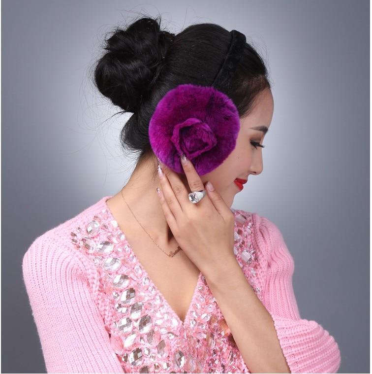 Real Rabbit Fur Earmuffs Women Winter Warm Soft Elastic Pink Red White Black Coffee Earmuffs