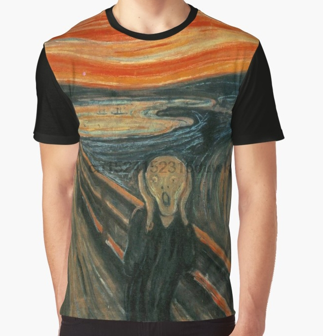 All Over Print T-Shirt Men Funy Tshirt The Scream  Edvard Munch Short Sleeve O-Neck Graphic Tops Tee Women T Shirt