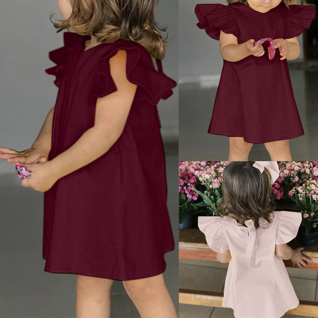 Summer Cute Infant Baby Girls Fly Sleeve Solid Bow Dress Clothes Dresses 3-24M
