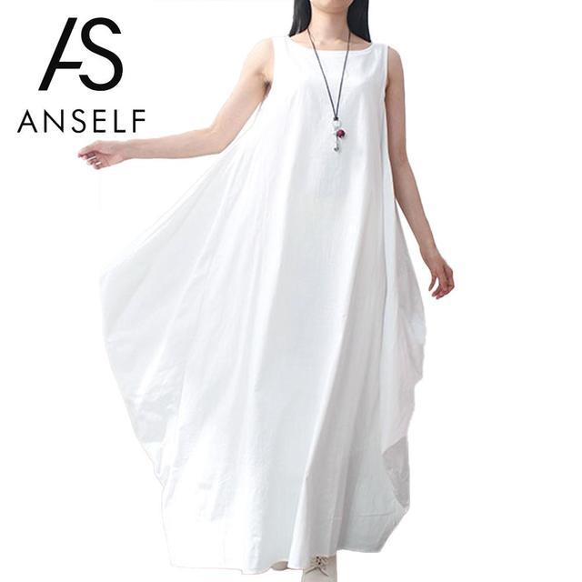 41bac95174 5XL Plus Size Women Maxi Long Dress Sleeveless Tunic Dress Pockets O Neck  Solid Summer Loose