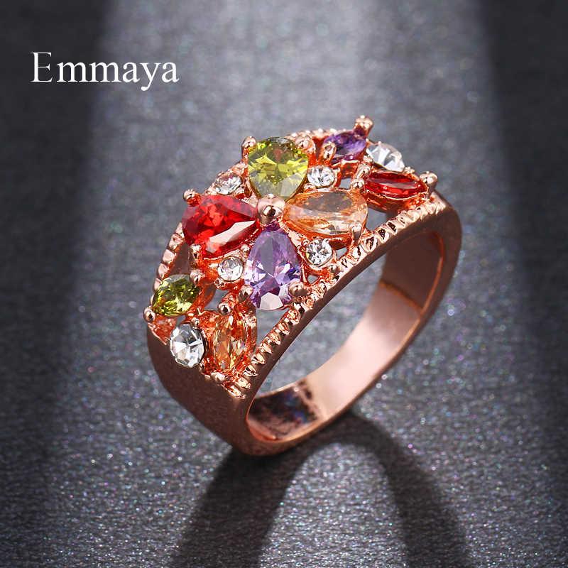 Emmaya แหวนคริสตัลแฟชั่น Rose Gold สี Multicolor Cubic Zircon งานแต่งงานแหวนแฟชั่นผู้หญิงเครื่องประดับแหวน