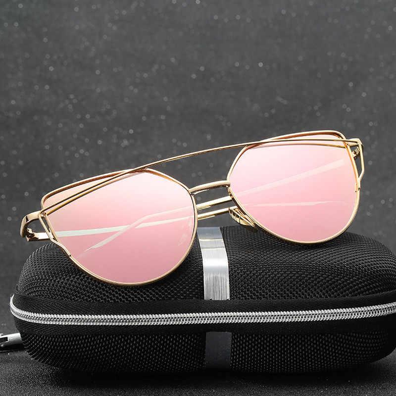 0469f85fd 2018 Cat Eye vintage Brand designer rose gold mirror Sunglasses For Women  Metal Reflective flat lens