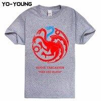 Yo Young House TARGARYEN Game Of Thrones T Shirts Men Qualtiy Printed 100 180g Combed Cotton
