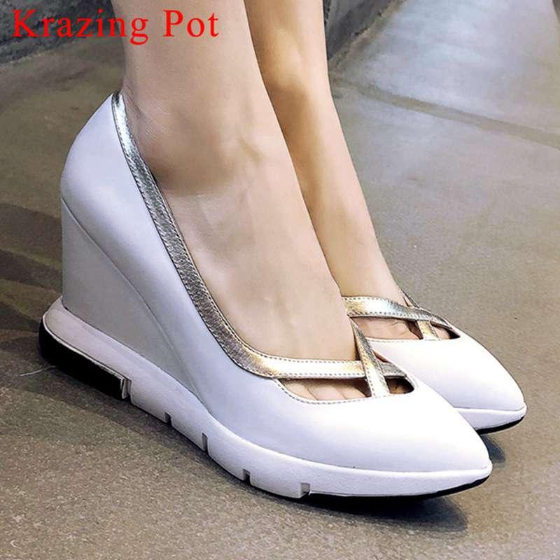 Krazing Topf oxfords spitz reisen runway echtes leder slip auf keile high heels wasserdicht pretty mädchen pumpen L78-in Damenpumps aus Schuhe bei  Gruppe 1