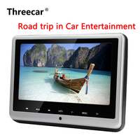Threecar Headrest DVD Player 10.1 inch HD Wide Headrest Monitor USB/SD Luxury Leather Wrapped Portable DVD Media Player