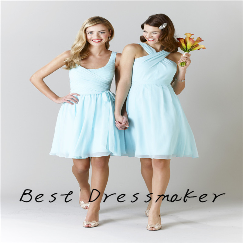 Real picture simple 2016 light blue bridesmaid dresses lovely halter real picture simple 2016 light blue bridesmaid dresses lovely halter a line knee length chiffon wedding party dress customized in bridesmaid dresses from mightylinksfo