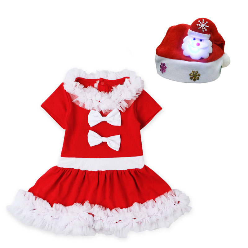 Baby Girls 2017 Christmas Santa Claus Dress + Hat Outfit Costume Xmas Clothes New Year Dress Princess Costume nyan cat baby girl boys infantil toddler red christmas santa claus romper hat outfit cotton jumpsuit costume event party clothes