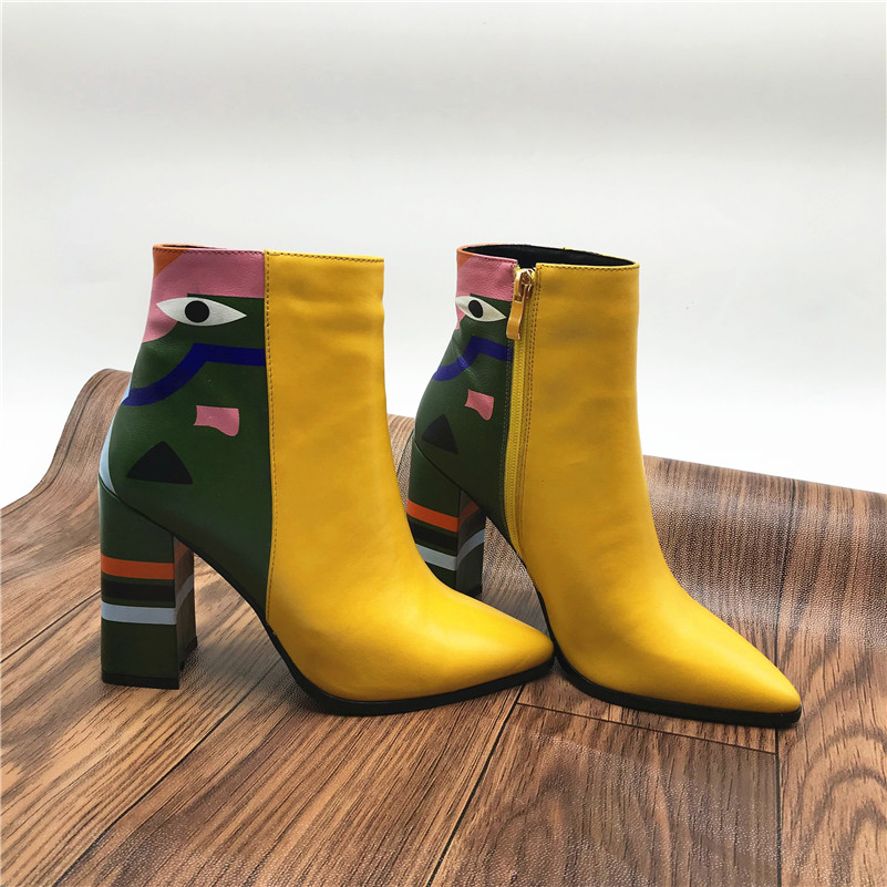 2019 Fashion Brand, Women's Ankle Boots, Print High Heels Martin Shoes, Women's Pumps Basic Leather Boots 27