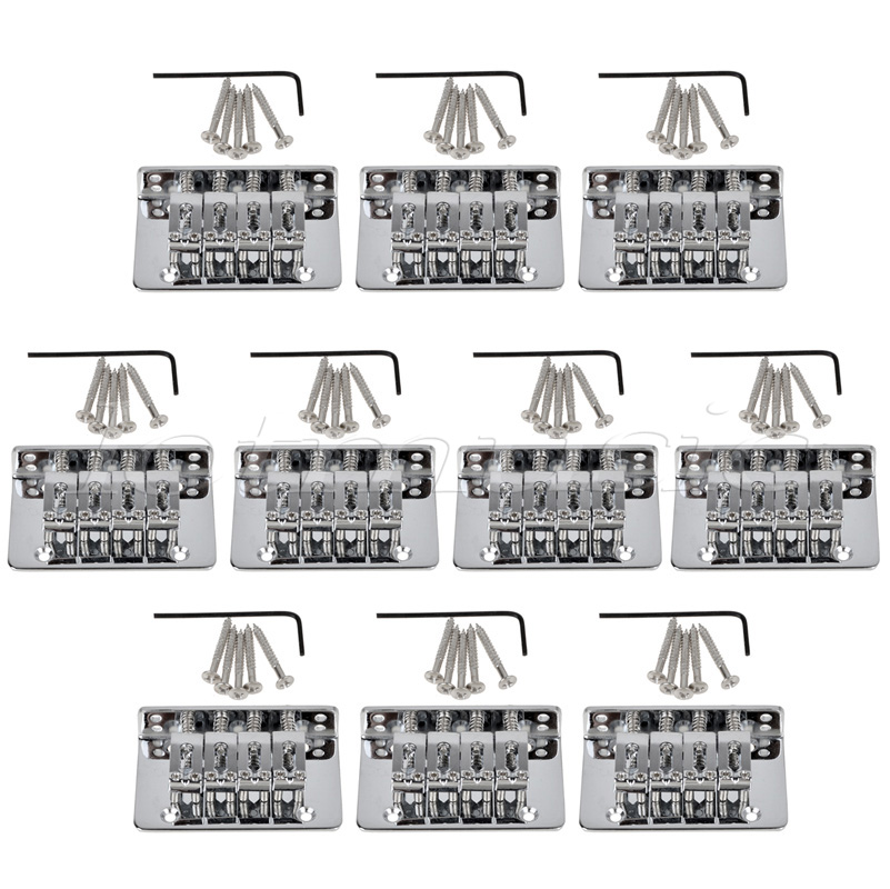 10 sets Chrome 4 String Fixed Bridge For Mandolin Ukulele Cigar Box Guitar single guitar bridge for 3 4 5 string guitar cigar box banjo with screws wrench