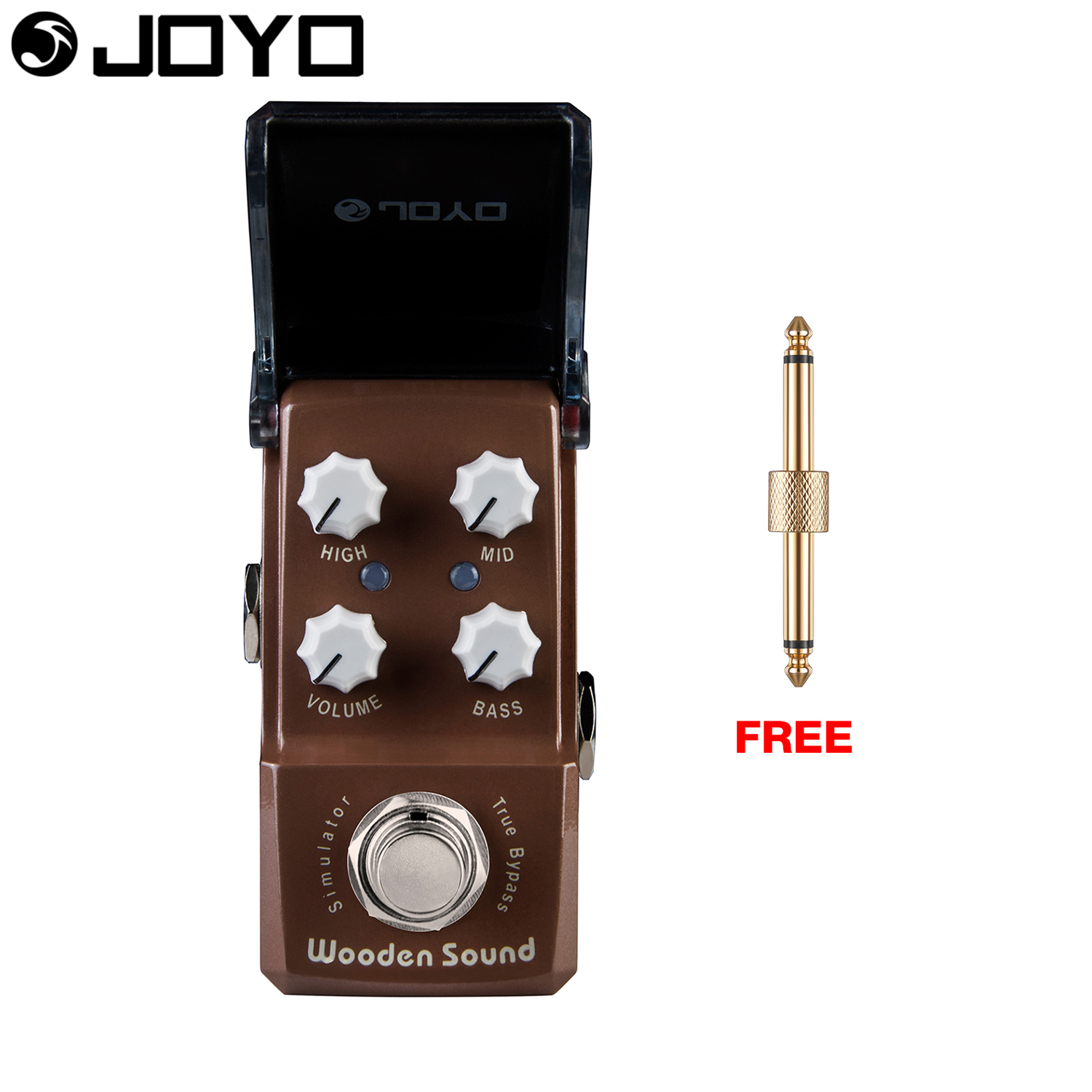 Joyo Wooden Sound Acoustic Simulator Guitar Pedal Mid Control True Bypass Bass Control JF-323 with Free Connector aroma adr 3 dumbler amp simulator guitar effect pedal mini single pedals with true bypass aluminium alloy guitar accessories