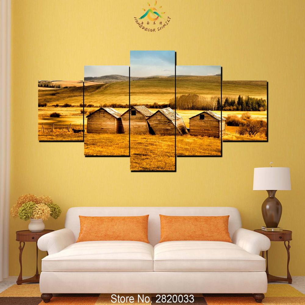 5 Panel Barns Fields Wall art for Home Decoration Cheap Artwork ...