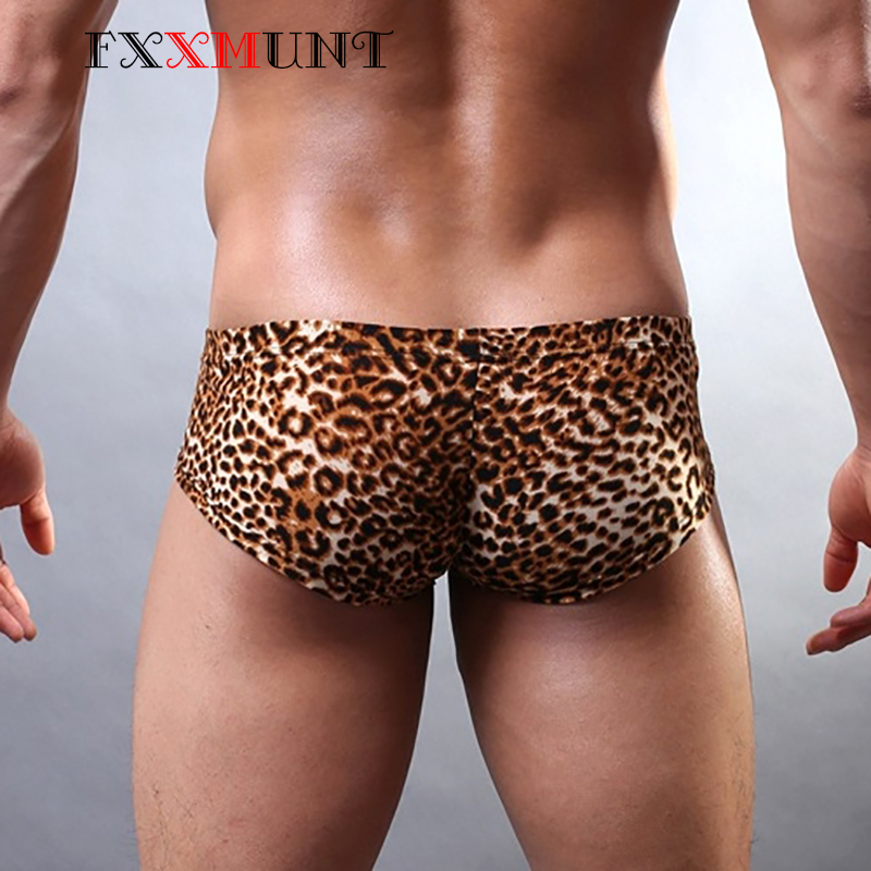 Sexy Boxers Mens Underwear Tiger Leopard Trunks Breathable Cotton for JS34 Print