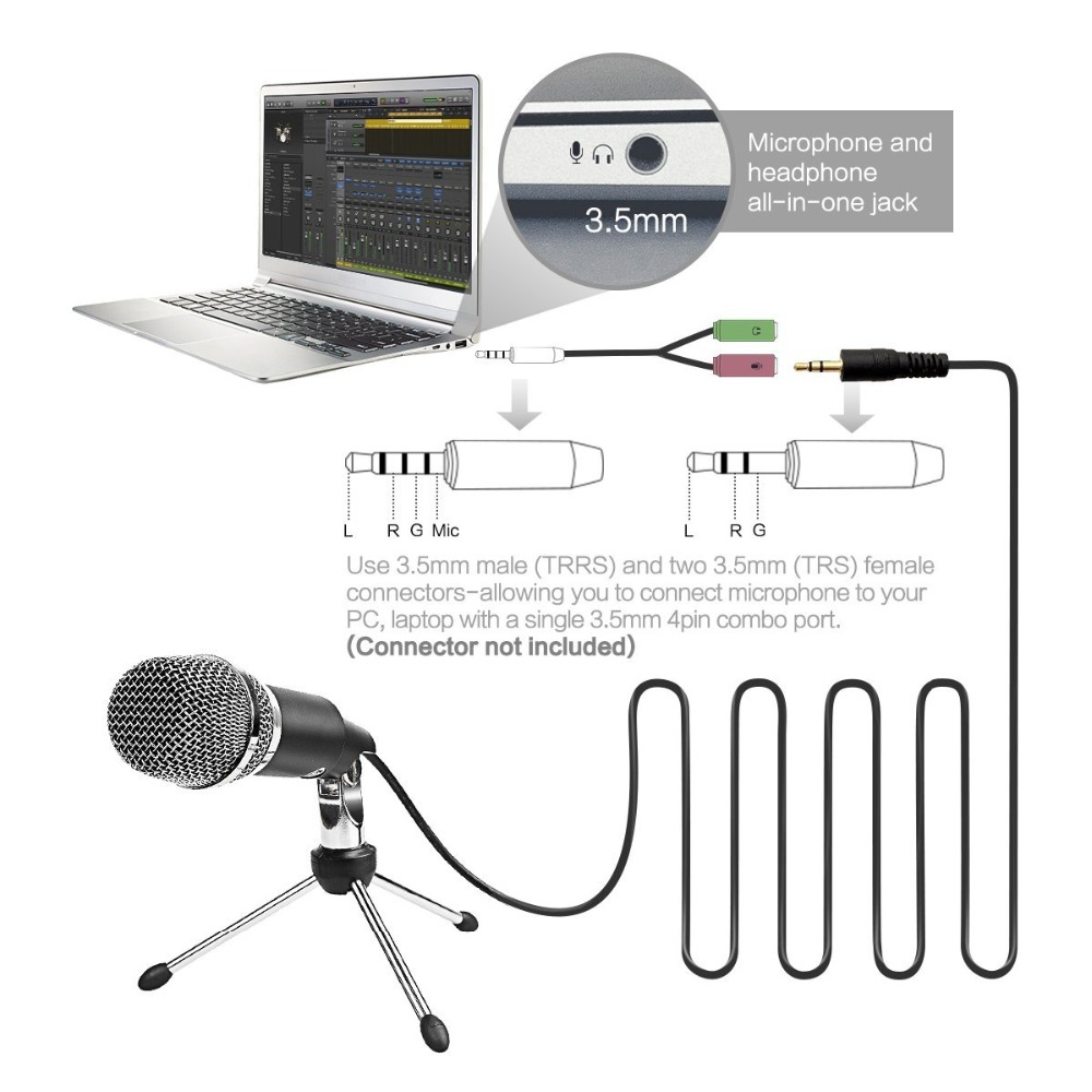 Fifine Condenser Microphone  3.5mm Plug and Play  For Computer PC Online Chat, Skype,YouTube,Google Voice Search, Games-K667 2