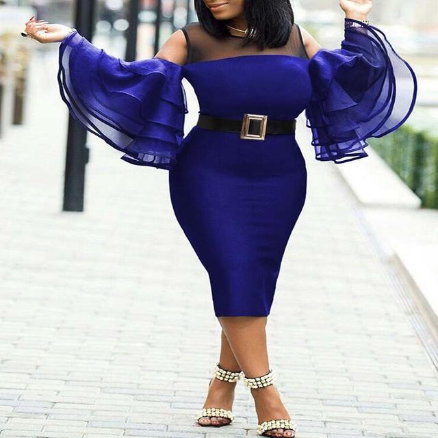 Africa Clothing Plus Size Mesh Ruffles Sleeve Dress Women