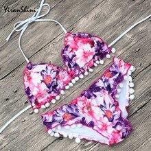 YIRANSHINI Sexy Floral Imprimir Swimsuit 2018 Biquínis De Cintura Alta Empurrar Para Cima Swimwear Mulheres Sexy Backless Biquini Praia de Banho Terno