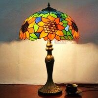 Тиффани разноцветный Стекло настольная лампа подсолнечника кровать освещение Гостиная Кофе исследование лампа деревенский диаметр 40 * h62cm