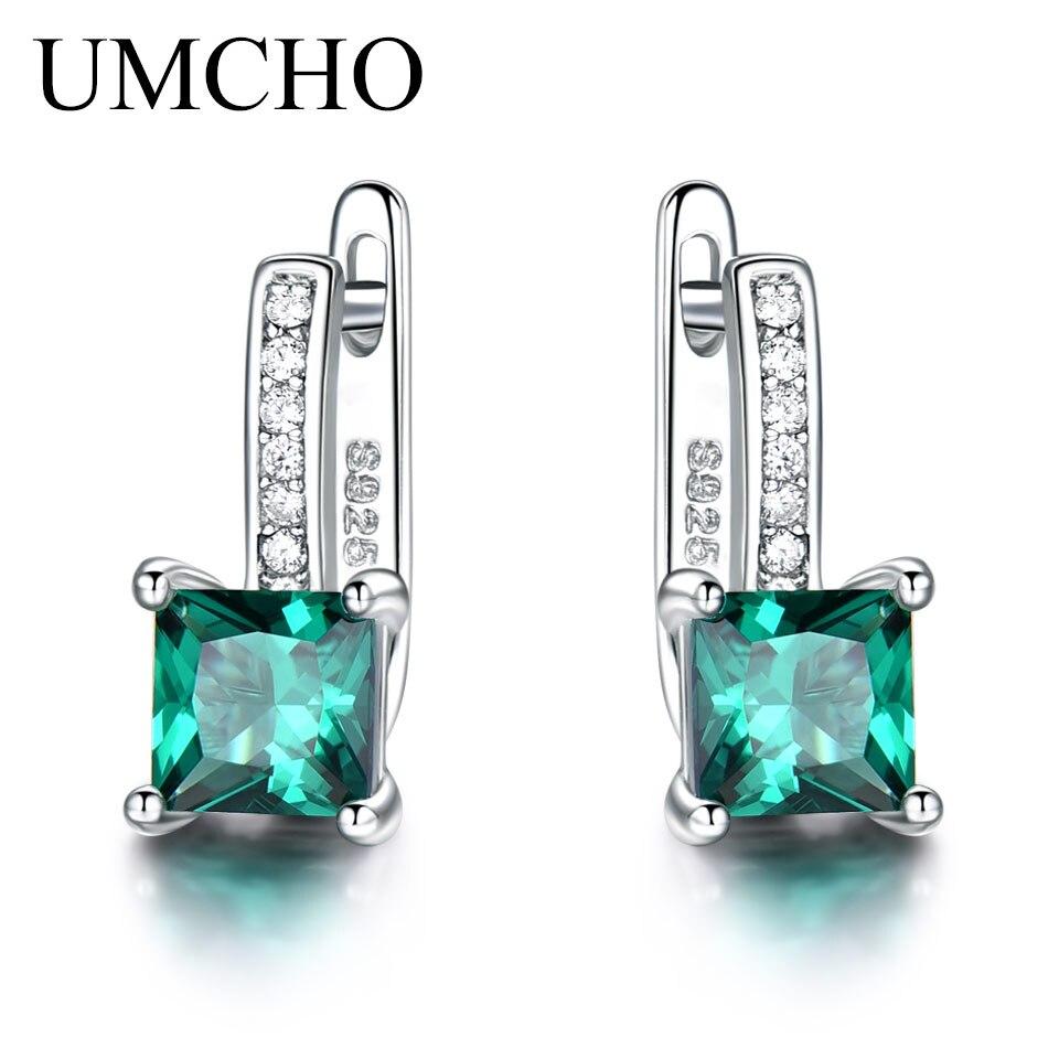UMCHO Erstellt Green Smaragd Edelstein Clip Ohrringe Für Frauen Solide 925 Sterling Silber Jahrestag Geschenke Für Frauen Zubehör