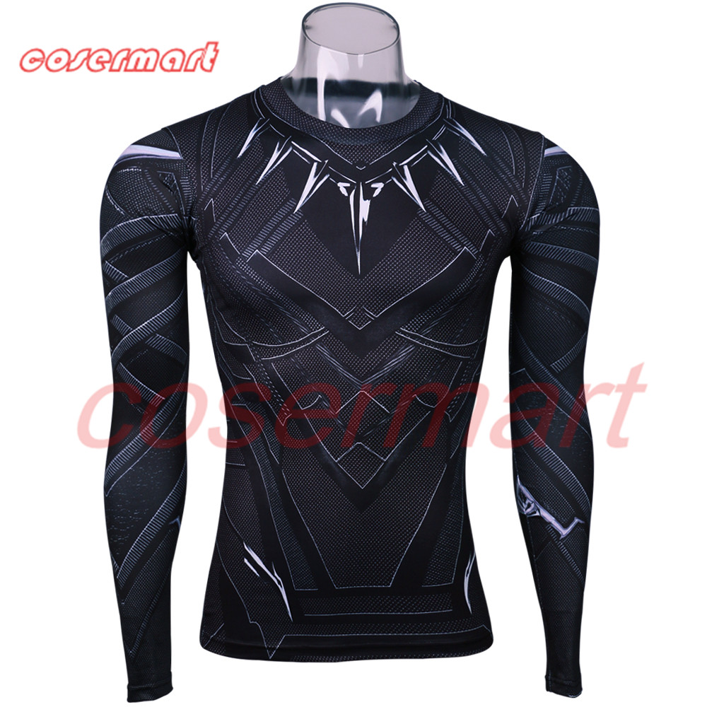 Black Panther 3D Printed T-shirts Man Captain America Civil War Tee Long Sleeve Cosplay Halloween Costumes Party Prop