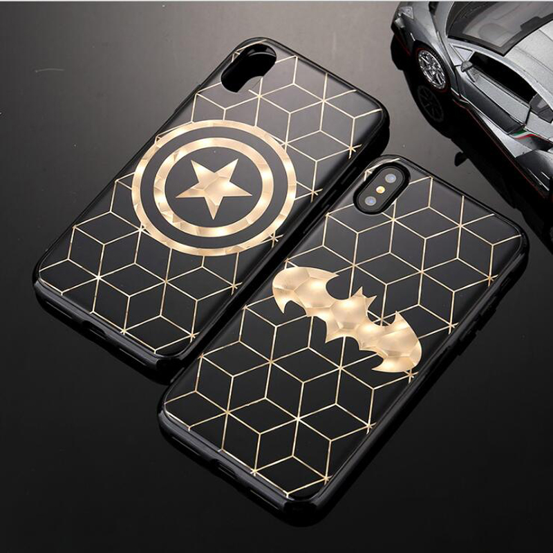 For iPhone 6 case Gold Plating Super Hero iPhone X Back Case for iPhone 7 case 6 6S 8 Plus TPU Silicone Cover for iphone 8 case