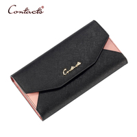 CONTACT S Wallet Women Genuine Leather Card Holder Coin 2017 Envelope Long Clutch Trifold Casual Phone