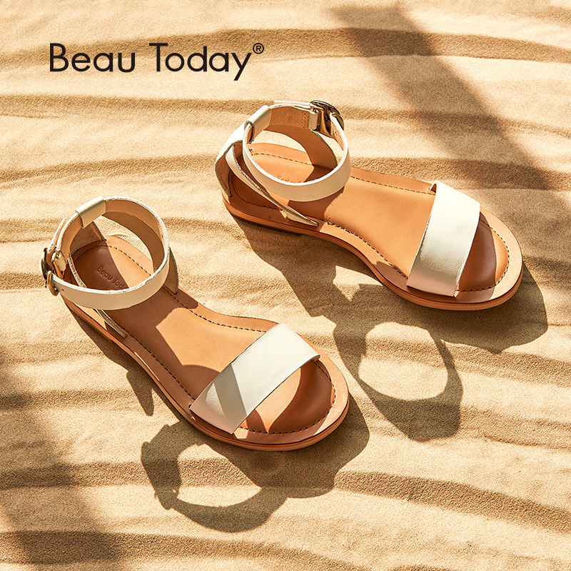 BeauToday Women Sandals Gladiator Soft Calfskin Genuine Leather Buckle Strap Top Brand Ladies Summer Beach Flats Handmade 32069