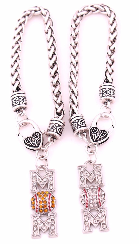 Antique Sliver Plated Zinc Studded With Sparkling Crystal Mom Baseball Or  Softball Sporty Charm Bracelet(