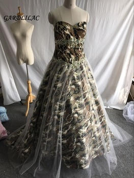 Stock Real Pictures Camouflage Wedding Dresses  2019 Sweetheart Camo Beads Long Prom dress Bridal Gown sweetheart girl camo wedding dresses with detachable train long bridal gowns camouflage formal real tree custom