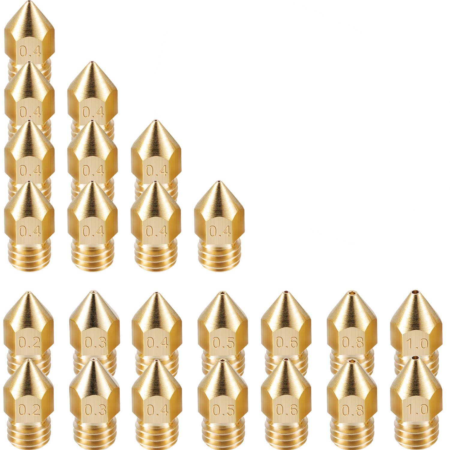 24 Pack 3D Printer Extruder Nozzles Mk8 Nozzle 7 Different Size 0.2 Mm,0.3 Mm,0.4 Mm,0.5 Mm,0.6 Mm,0.8 Mm,1.0 Mm With Clean Bo