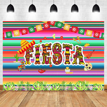 NeoBack Mexican Fiesta Theme Photography Background Cactus Color Flag Birthday Party Studio Photo Supplies