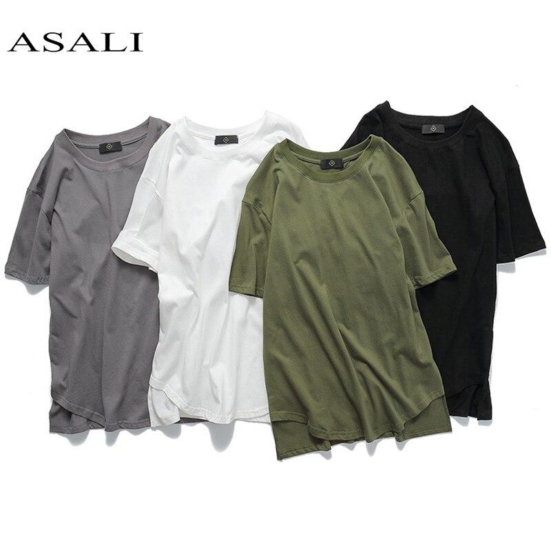 ASALI Marque Tendance Vêtements de Coton O-cou Hommes T-shirts 2018 D'été Nouvelle Mode Solid Slim Fit Ras Du Cou Simple Top t-shirts