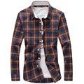 2017 весна осень мужские рубашки, мужская мода slim fit цвет блока на ближний свет с длинным рукавом плед рубашку мужчины случайные рубашки высокого качества