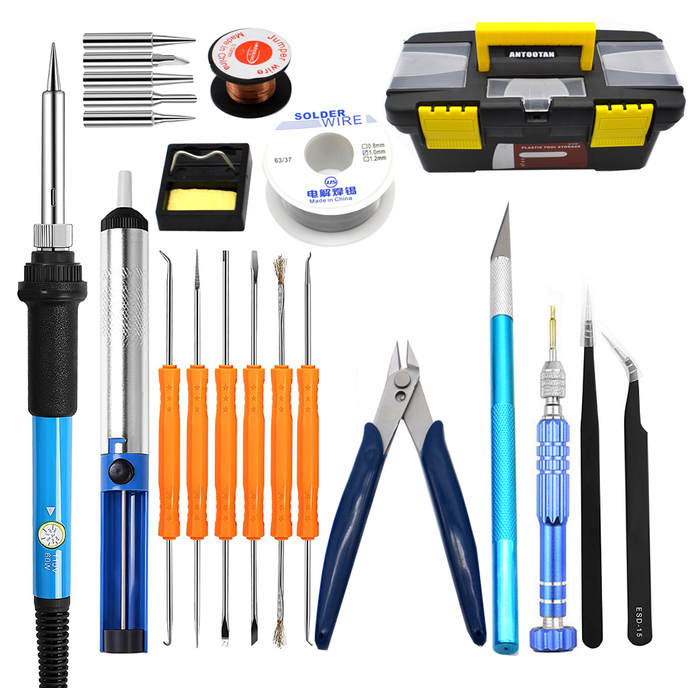 EU 220V 60W Adjustable Temperature Electrical Soldering Iron Kit Welding Repair Tool Set with Tool Box 25pcs/lot adjustable temperature soldering iron 60w switch welding station tool kit with soldering tips