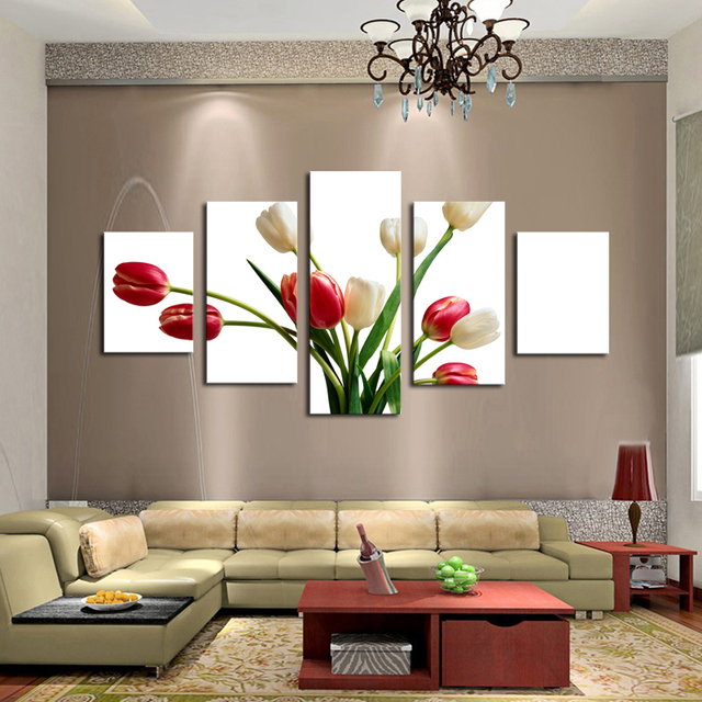 5 Panels Huge HD Beautiful Red And White Rose Top Rated Canvas Print For Living