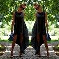 2017 nuevos atractivos del verano mujeres de la gasa larga dress loose o-cuello de la manera sin mangas de color sólido irregular volver largo grande hem dress