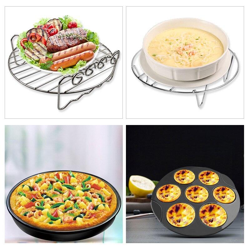 Воздушный фритюрница запчасти 8in 8 компл. торт цилиндрованный гриль блюдо для пиццы usd для 5.2qt-5.8qt хлебная подставка вертел стойка кухонная